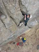 Rock Climbing Photo: graffiti (and a climber) on the brick wall
