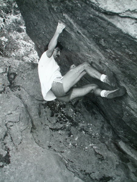 "Rob "" CAT"" Candelaria bouldering on Flagstaff."