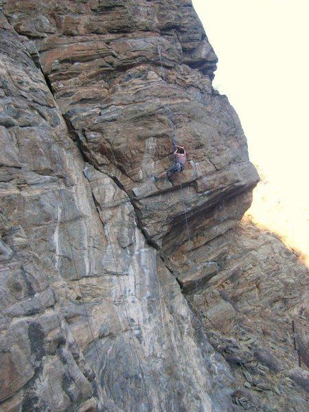 Sarah Konopka enjoying some January climbing at the Dog House.