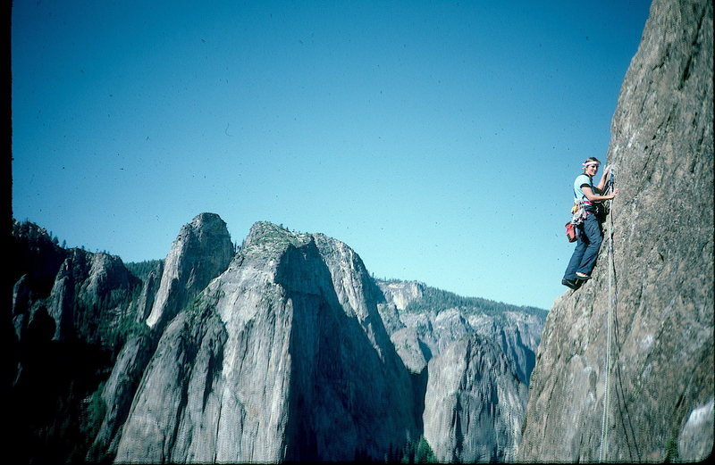East Buttress, El Cap. Yosemite.  This is the easy pitch after the horrible ant tree.<br> Cathedral rocks in background.