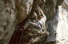 Rock Climbing Photo: Starting up Reanimator.  The big jugs lead to shal...