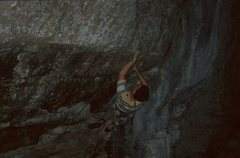 Rock Climbing Photo: A crux move on Reanimator.  The wall is very steep...
