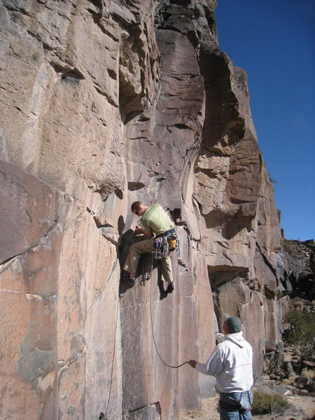 Rock Climbing Photo: Finishing the bouldery crux of the route and about...