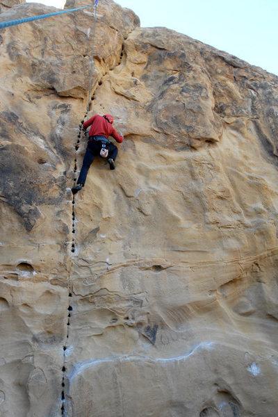 Rock Climbing Photo: Phil Fontilea on Sand Blast (5.11c) at Stoney Poin...