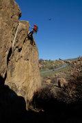 Rock Climbing Photo: Phil Fontilea raps in to Sand Blast, at Stoney Poi...