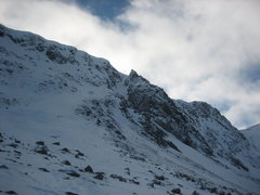 Rock Climbing Photo: Aladdin's Buttress from the side, with the Couloir...