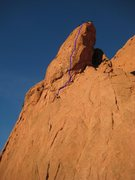 Rock Climbing Photo: My kid painted the route for us. Pitch 2 and 3 sho...