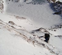 Rock Climbing Photo: Low on the NE headwall, gaining some rock to begin...