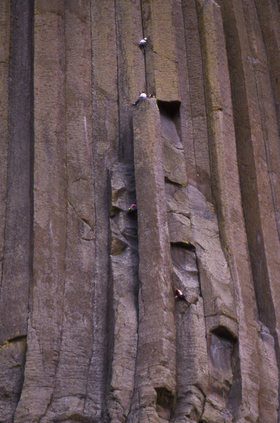 Rock Climbing Photo: Climbers on the 1st and 3rd pitches. the climber o...