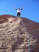 Rock Climbing Photo: The sandy topout. I stood on one bolt where the sa...