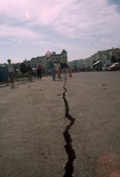 "Crack in San Francisco street after Loma Prieta Earthquake.  This apparent ""climbing opportunity"" was filled in by the streets department."