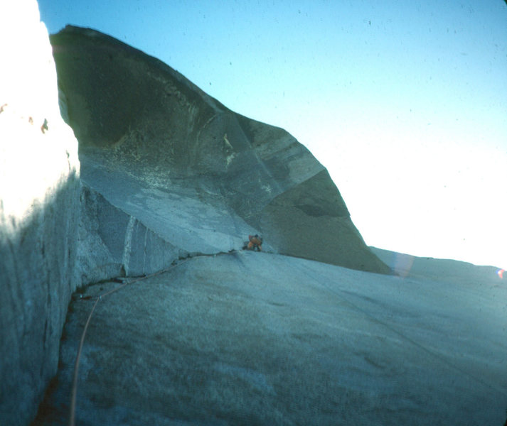 El Cap. The Nose, approaching the Great roof. Yosemite