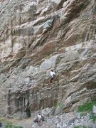 Rock Climbing Photo: Dan Miller on the 1st Pitch of Spider Pig 5.11a.