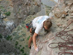 Rock Climbing Photo: Dave Klug following me up the second pitch of Spid...