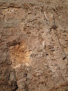 Rock Climbing Photo: Large square scar immediately left of the start