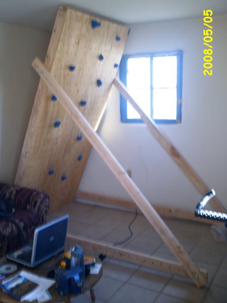 Blurry shot of homemade climbing panel