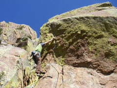 Rock Climbing Photo: Starting the crux sequence on pitch 2.