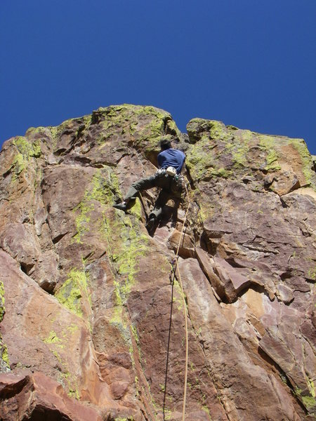 Rob about to enter the crux.