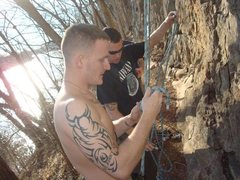 Rock Climbing Photo: Untying after setting up a top rope