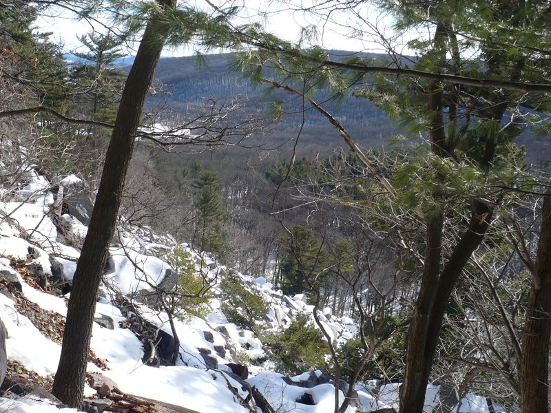 Looking down from the base of Brinton's Buttress 2-1-09