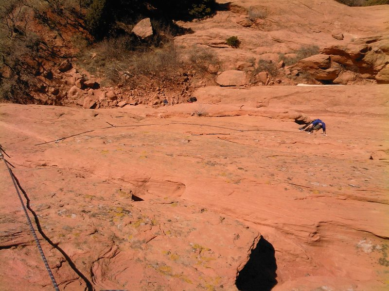 Mike Houston just leaving the belay.