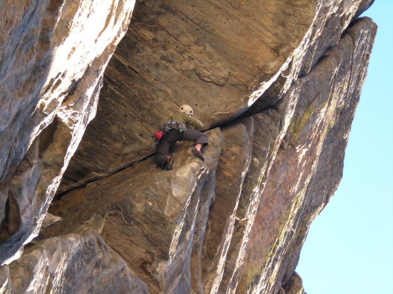 Rock Climbing Photo: Leading pitch 2...just before the French free sect...