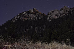 Rock Climbing Photo: Night Shot of Physical Crag and The Veil.