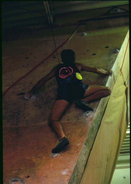 The 1st indoor climbing competition in Boulder, at CATS indoor climbing gym, circa late 1987.