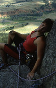 Rock Climbing Photo: Lady on the ledge. relaxing on the big ledge above...