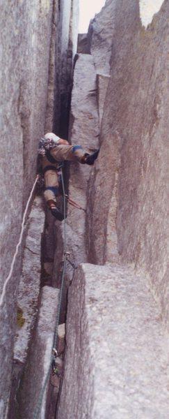 Rock Climbing Photo: SC ace Buddy Brasington in the chimneys