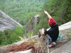 Rock Climbing Photo: At the P1 belay.