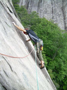 Rock Climbing Photo: Wayne moving out from the top of P1, short of gear...