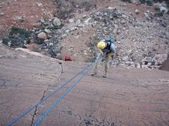 Rock Climbing Photo: View of the 5th pitch from the anchors.  My partne...