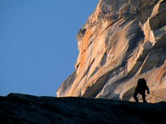 Rock Climbing Photo: A climber and the Salathe Headwall
