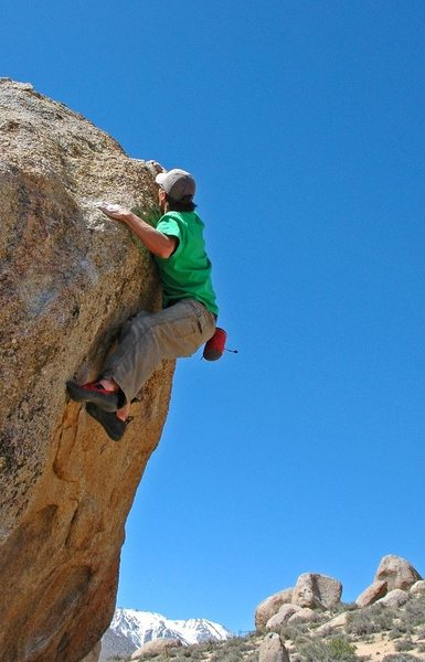 Rock Climbing Photo: Hitting the good jug at the top of 'Unnamed'