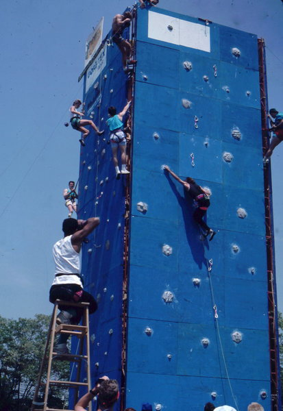 Rock Climbing Photo: Climbing Comp at REI in Washington DC, circa 1987.