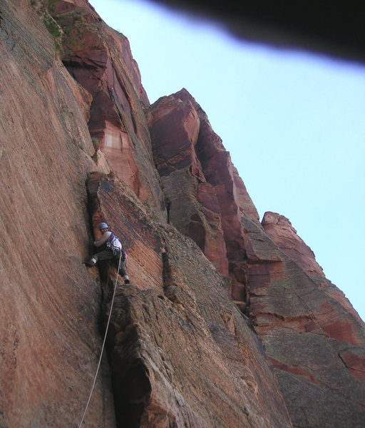 Rock Climbing Photo: Pitch 7...the corner above, and to my right is pit...