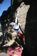 Rock Climbing Photo: Moving passed the crimps on Problem 18 V2