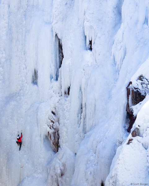 Me getting sated on the lead of 'Pick o the Vic' (WI4) in the Ouray Ice Park. Photo courtesy of Scott Borger.