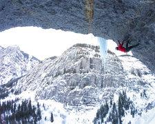 Rock Climbing Photo: Fighting gravity up-side-down on 'Troglodyte' (M9)...
