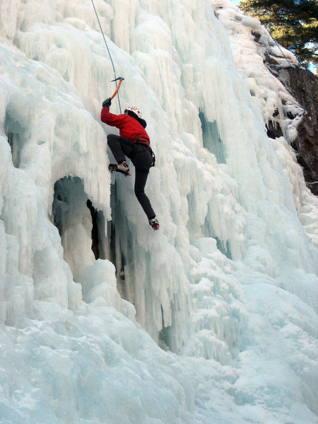 TRing some sa-weet ice to get in maximum mileage. South Park area of the Ouray Ice Park.