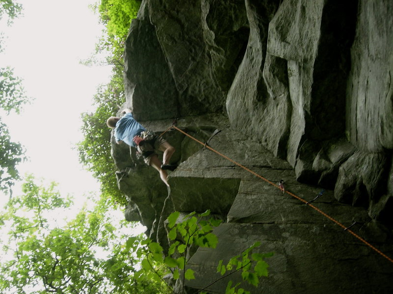 Rock Climbing Photo: reaching the crux