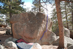 Rock Climbing Photo: Blue line is V0 problem, approximate.