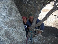 Rock Climbing Photo: Brad and Ethan at the top of pitch One on Munginel...