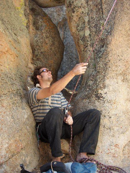 Belaying Brad in Holcolmb Valley