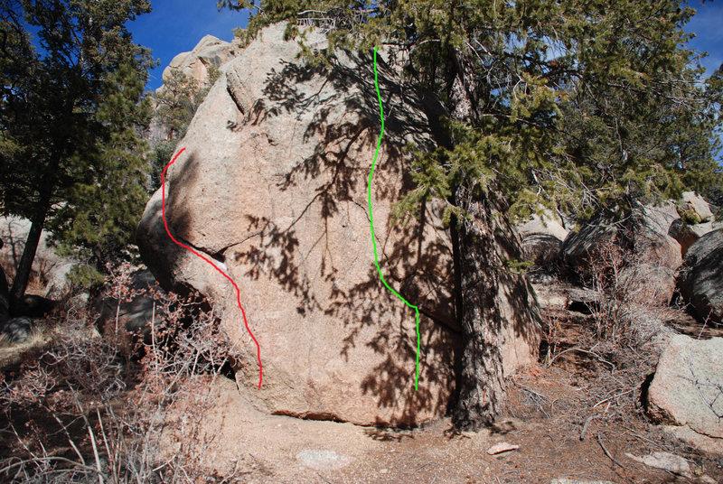 Rock Climbing Photo: Green = V2. Red = V0.