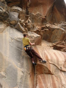 Rock Climbing Photo: Nice laybacking moves just before swinging right a...