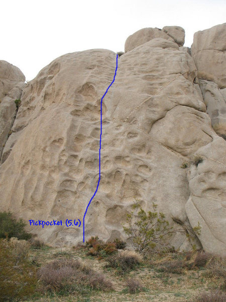 The line of obvious solution pockets is Pickpocket (5.6), Joshua Tree NP