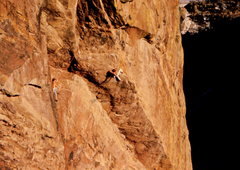 Rock Climbing Photo: The Wisdom Roof, Eldorado Canyon.