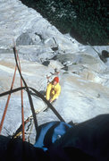 Rock Climbing Photo: Looking down on the first headwall pitch. Most of ...